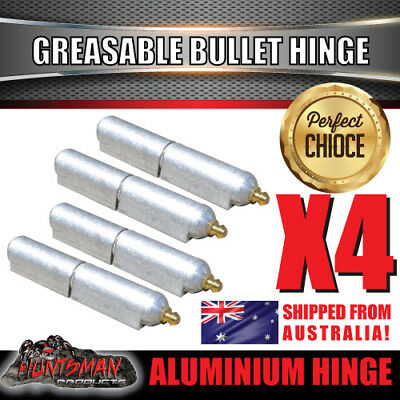x4 100mm x 16mm Aluminium Greasable Bullet Hinges S/S Pin & Washer Tailgate Door