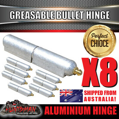x8 100mm x 16mm Aluminium Greasable Bullet Hinges S/S Pin & Washer Tailgate Door