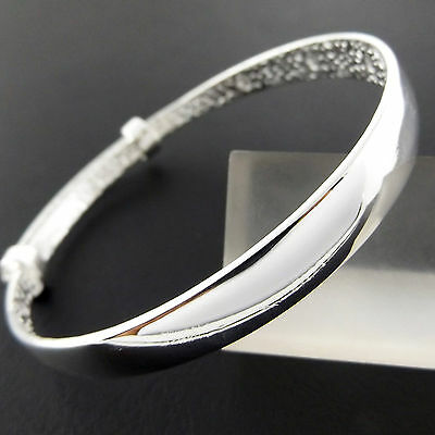 814 Genuine Real 925 Sterling Silver S/f Kids Adjustable Cuff Bangle Bracelet