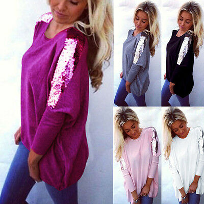 Womens Sequin Long Sleeve Ladies Casual Jumper Pullover Baggy Loose Blouse Tops