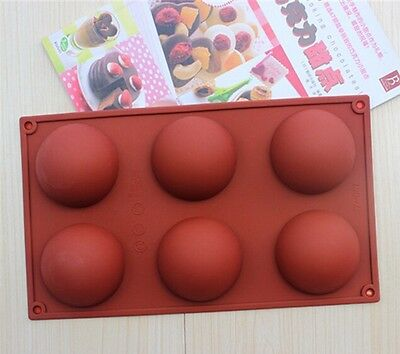 6 Half Ball Round Cake Cookie Mould Flexible Silicone Soap Mold Baking Tool AU