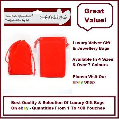 RED 5 x 7 Luxury Velvet Gift Pouches Jewellery Pouches Wedding Party