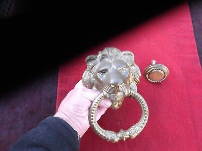 Vintage Very Heavy & Large Brass English Lion Door Knocker/antique Brass Knocker