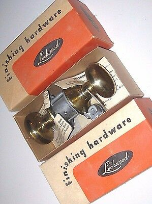 New Old Stock VINTAGE Bathroom SET Solid BRASS DOOR KNOBS Passage Latch Set USA