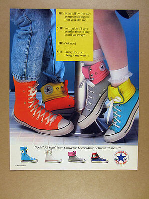1987 Converse Neehi All Stars orange gray turquoise chuck taylor shoes print Ad