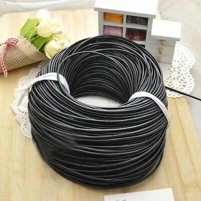 5M Black Real Leather Rope String DIY Cord Necklace Men Women Jewelry Craft