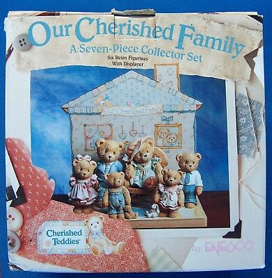 F022 Enesco Our Cherished Family Seven-Piece Figurines Teddies Collector Set New