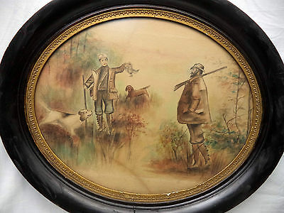 Folk Art Color Pencil Drawing Hunting Scene Dogs Guns Game Bird Oval Frame