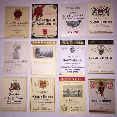 LOT DE 27 ETIQUETTES ANCIENNES DE VINS De BORDEAUX 40's To 60' Wine Labels
