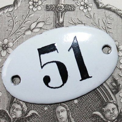 Vintage French Apothecary Porcelain Enamel Number Sign 51
