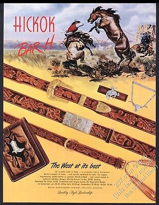 1947 cowboy wild horse art Hickok Bar-H Western tooled leather belt wallet ad