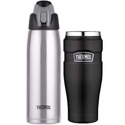 Thermos Vacuum Insulated 24 Oz. S/S Hydration Bottle w/ 16-Ounce Travel Tumbler