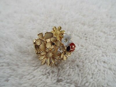 Goldtone Rhinestone Flower Ladybug Ring ~ Adjustable Size 7-11  (C34)