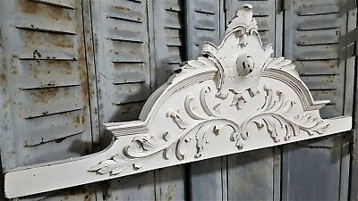 Shabby Carved Wood Pediment Antique French Easily Convertible To Wall Hook Rack