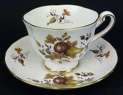 Royal Chelsea Golden Fruit Cup and Saucer Footed Bone China England Gold Trim