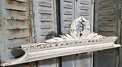 Shabby Hand Carved Wood Pediment Antique French Victory Architectural Salvage