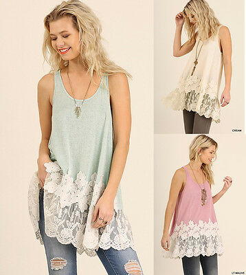 4e326c30819 UMGEE Embroidered Lace Hem Long Tunic Tank Top Loose Flowy Casual Boho  Hippie