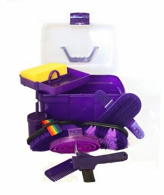 Horse Grooming Box Set 9 Pieces Barn Stable Supply Brushes Comb Hoof Pick Purple