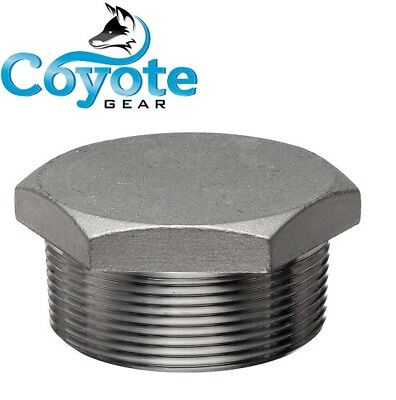 "304 SS 2-1/2"" NPT Hex Head Pipe Thread Plug Stainless Steel Coyote Gear 150 PSI"