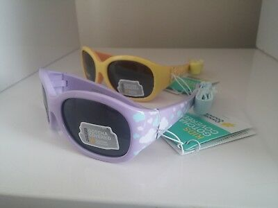 INFANTS CANCER COUNCIL Sunglasses X 2 RRP $50 - 1 Purple, 1 Yellow with Strap