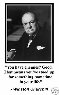 Winston Churchill Enemies Famous Quote Matted Framed Photo