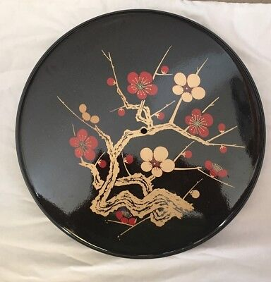 Vintage Black Floral Japanese Lacquer Large Jubako Bento Box with Lid Japan