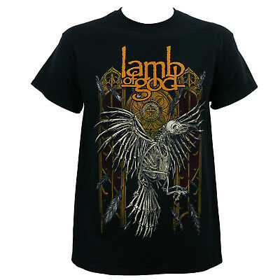 Authentic LAMB OF GOD Band Crow Skeleton Black T-Shirt S-2XL NEW