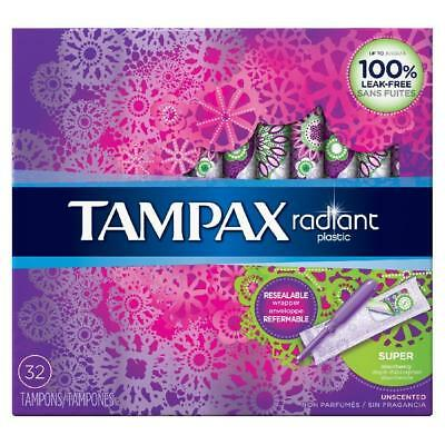 Tampax Radiant Plastic Unscented Tampons, Super Absorbency, 32 Count
