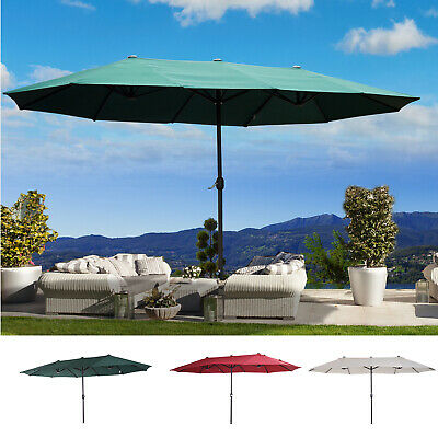 Double-sided 4.6M Patio Parasol Umbrella Outdoor Crank Sun Shade Canopy Shelter