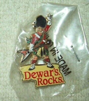 "2001 Pin Pinback ""Dewars Rocks"" Scotch Rock N' Roll Guitar Scottish NEW & SEALED"