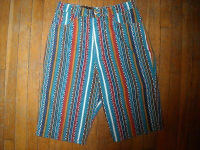 Vtg 80 90 Womens 10 Small Hip Hop Rap Grunge Stripe Striped  Denim Jean Shorts