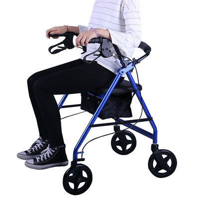 Aluminum Foldable Rollator Walking Frame Outdoor Walker Aids Mobility Lightweigh