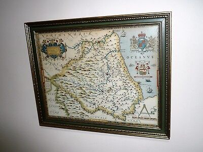 Old Engraved Hand Coloured Map By Christopher Saxton Of Northumbrie  England
