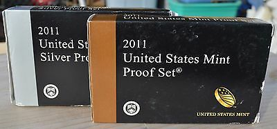 2011 Us Silver Proof Set + 2011 Clad Proof Set-28 Coins-Complete W/ Box Papers