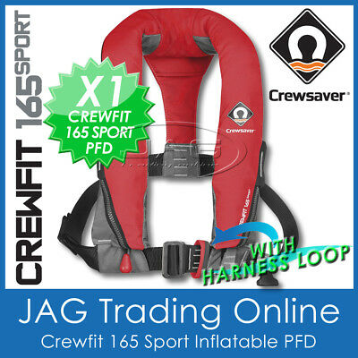 Crewsaver Crewfit 165 Fiery Red Manual & Harness Loop Inflatable Pfd Life Jacket