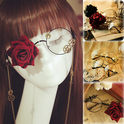 Gothic Goth Lolita Men Women Round Glasses Chain Rose Steampunk Cosplay Prop