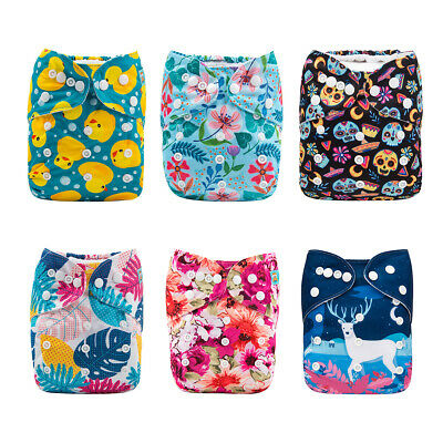 6 ALVA Cloth Diapers Lot One Size Reusable Washable Pocket Nappies+ 12 Inserts