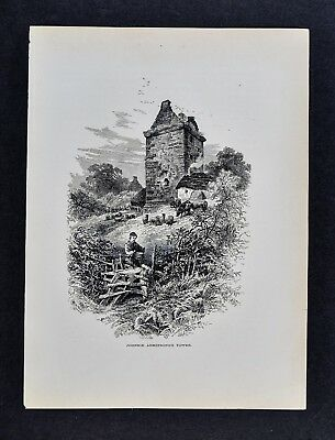 1878 Picturesque Print - Johnny Armstrong's Tower or Gilnockie Tower - Scotland