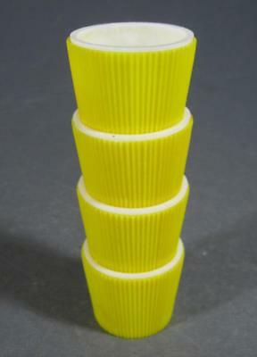 Retro/vintage 50s space-age plastic egg cups set x 4 yellow/white