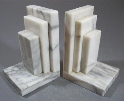 Vintage art deco white marble/alabaster bookends x 2 stepped/empire state
