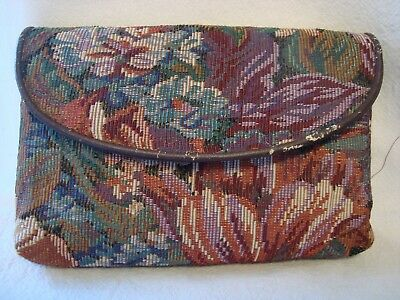 Vintage Multi - Colour Floral Tapestry  Wallet / Coin / Purse