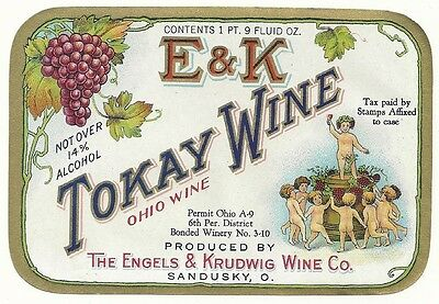 Early E & K  Tokay Wine Ohio Wine Label  Engels & Krudwig Wine Co. Sandusky,Oh.