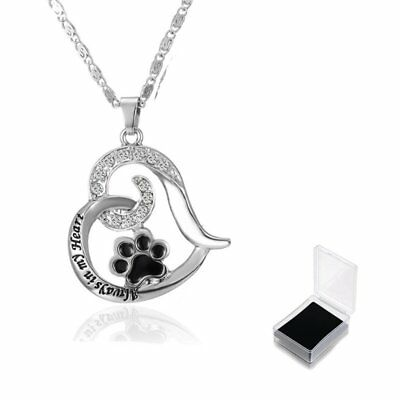 Always In My Heart Hollow Heart Dog Paw Chain Pendant Necklace Jewelry With Box