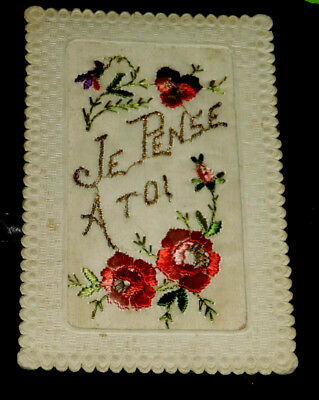 CP ancienne carte postale soie brodée Embroidered silk Fantaisie JE PENSE A TOI