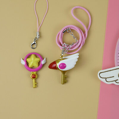 Card Captor Sakura Bird Magic Star Key Wand Pendant Necklace Keychain Keyring