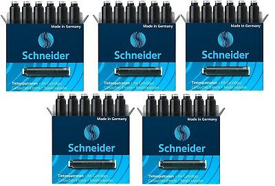 5 Boxes, Schneider Fountain Pen Ink Cartridges, Black, Made In Germany