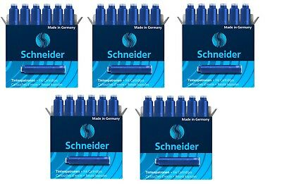 5 Boxes, Schneider Fountain Pen Ink Cartridges, Blue, Made In Germany