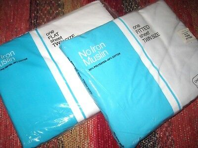 """Lot of 2 Vintage Solid White TWIN Size Flat Low 8"""" Fitted Bed Sheets Made in USA"""