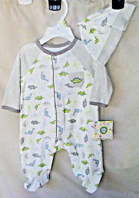LITTLE ME 100% COTTON White TINY DINOS Footie w/Matching Hat BOY SIZES NWT