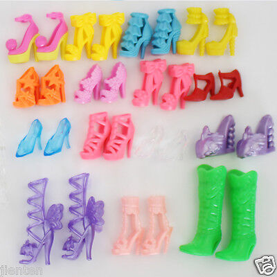 10Pair/Pack Different High Heel Shoes Boots Barbie Doll Dresses Shoes Kids Toys